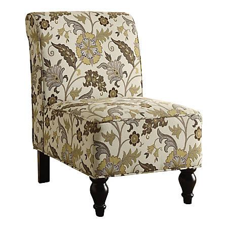 Monarch Specialties Anne Accent Chair, Beige/Gold