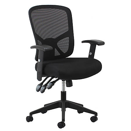 OFM Essentials 3-Paddle Ergonomic Mesh High-Back Chair, Black/Silver