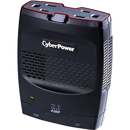 CyberPower CPS175SURC1 Mobile Power Inverter 175W with 2.1A USB Charger - Slim Line Design - Input Voltage: 12 V DC - Output Voltage: 120 V AC - Continuous Power: 175 W