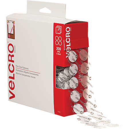 "VELCRO® Brand Tape Combo Pack, 3/4"" Dots, Clear, Case Of 200 Dots"