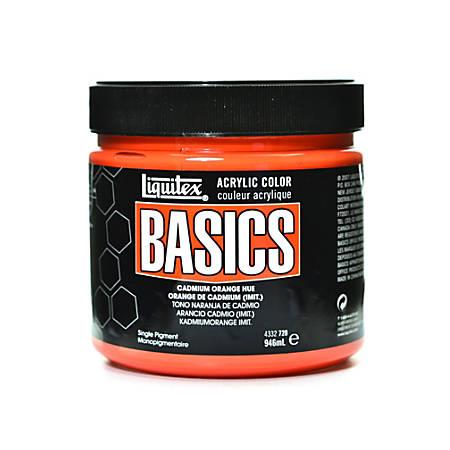 Liquitex Basics Acrylic Paint, 32 Oz Jar, Cadmium Orange Hue