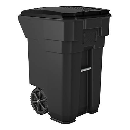 """Suncast Commercial Wheeled Square HDPE Trash Can, 65 Gallons, 40-7/8""""H x 27""""W x 31-1/4""""D, Gray"""