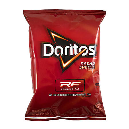 Doritos Reduced Fat Nacho Cheese Chips, 1 Oz, Pack Of 72