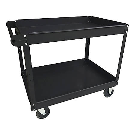 "Lorell™ 2-Shelf Utility Cart, 16""W, Black"