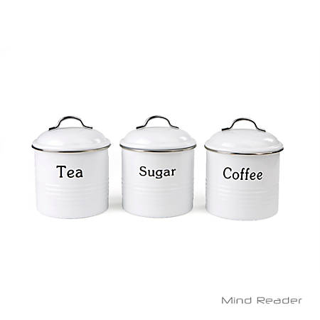 """Mind Reader Coffee, Sugar And Tea Canister Set, 5 1/2""""H x 5""""W x 5""""D, White"""