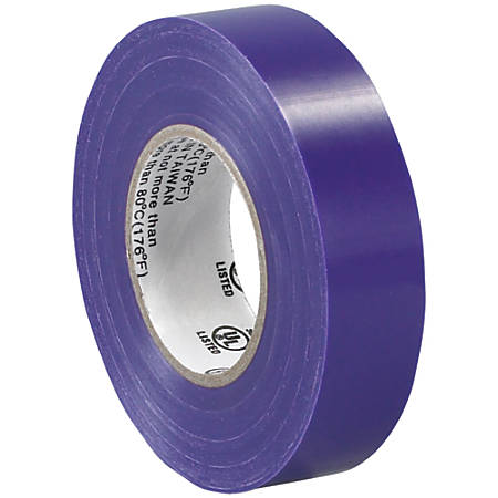 "Tape Logic® 6180 Electrical Tape, 1.25"" Core, 0.75"" x 60', Purple, Case Of 10"