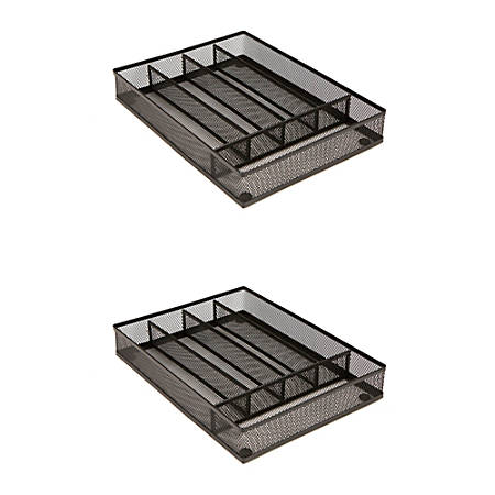 """Mind Reader 5-Section Cutlery Trays, 1 3/4""""H x 8 7/8""""W x 12 1/4""""D, Black, Pack Of 2"""