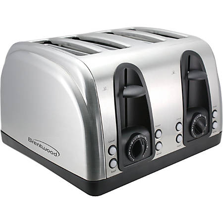Brentwood 4 Slice Toaster Extra Funtions S/S - 1500 W - Toast - Brushed Stainless Steel