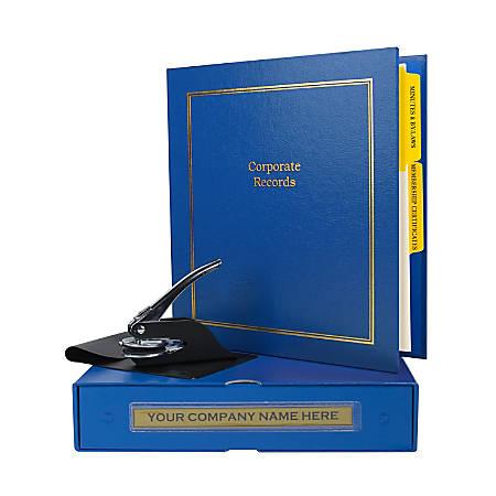 "Custom Not For Profit Corporate Kit, 1-1/2"" Blue Binder, 20 Blue Stock Certificates, 1-5/8"" Corporate Seal Embosser"