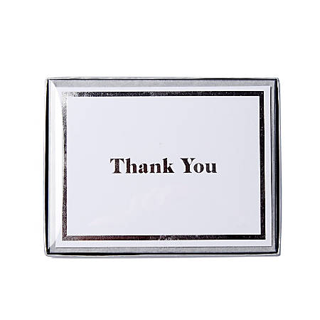 "Sincerely A Collection by C.R. Gibson® Top-Fold Thank You Notes, 3 3/4"" x 5"", White, Box Of 16"