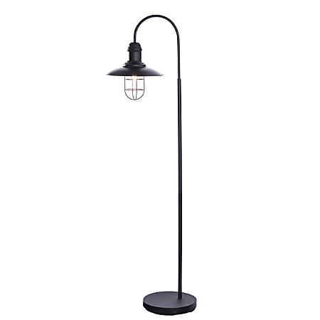 """Southern Enterprises Pinsley Caged Bell LED Floor Lamp, 63""""H, Matte Black"""