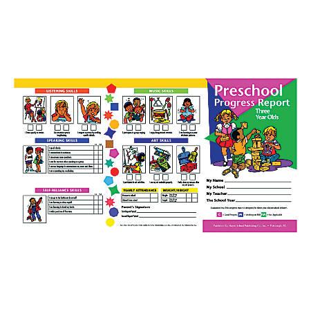 Hayes Preschool Progress Report Cards, Age 3, 10 Report Cards Per Pack, Set Of 6 Packs