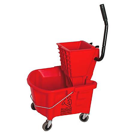 Genuine Joe® Mop Bucket And Wringer Combination, 26 Quarts, Red