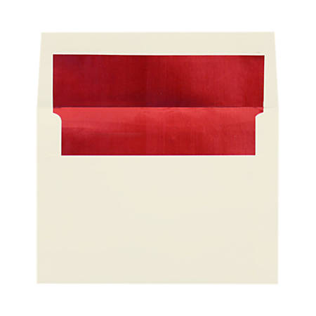 "LUX Foil-Lined Invitation Envelopes With Peel & Press Closure, A4, 4 1/4"" x 6 1/4"", Natural/Red, Pack Of 50"