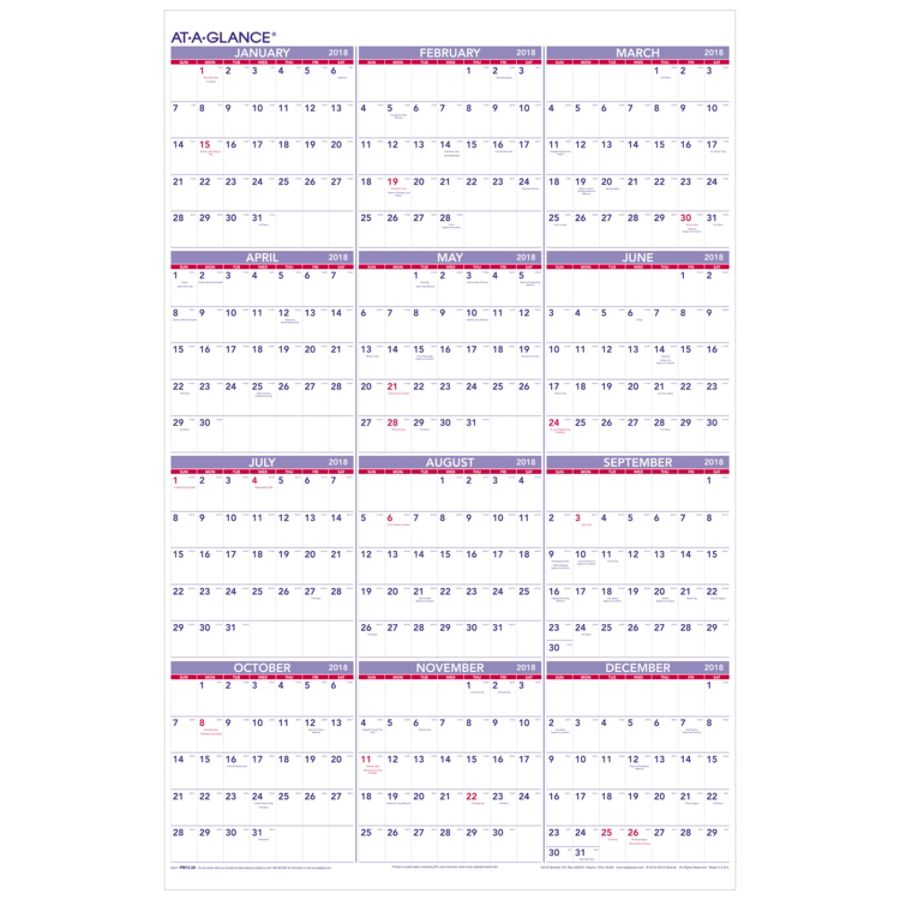AT A GLANCE Yearly Wall Calendar 24 x 36 30percent Recycled January