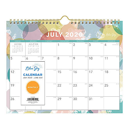 """Blue Sky™ Academic Monthly Wall Calendar, 11"""" x 8-3/4"""", Redondo, July 2020 To June 2021, 119354"""