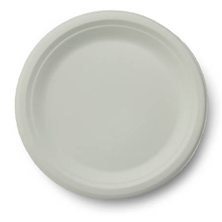 """Stalk Market Compostable Round Plates, 9"""", White, Pack Of 500 Plates"""