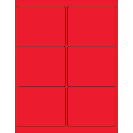 "Office Depot® Brand Labels, LL180RD, Rectangle, 4"" x 3 3/8"", Fluorescent Red, Case Of 600"
