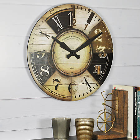 """FirsTime® Collector Round Wall Clock, 15 1/2"""" x 1"""", Black/Tan"""