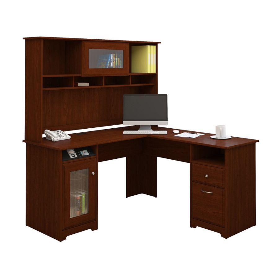 Bush Furniture Cabot L Shaped Desk With Hutch Harvest Cherry Standard  Delivery By Office Depot U0026 OfficeMax