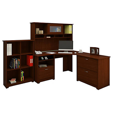 Bush Furniture Cabot Corner Desk And Hutch With Lateral File Cabinet And 6 Cube Bookcase, Harvest Cherry, Standard Delivery