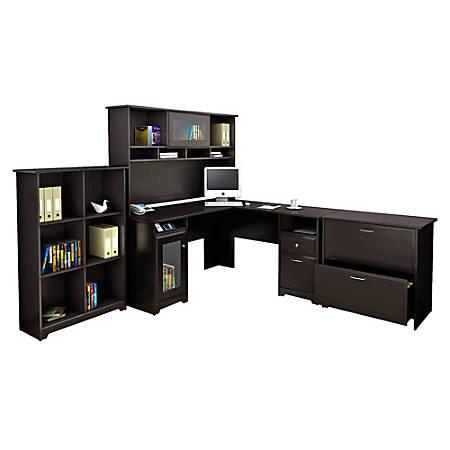 Bush Furniture Cabot L Shaped Desk And Hutch With 6 Cube Bookcase And Lateral File Cabinet, Espresso Oak, Standard Delivery