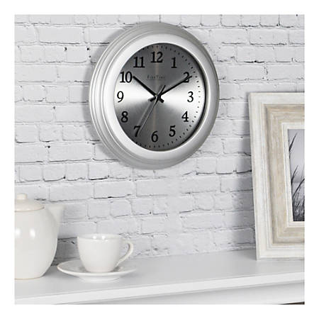 FirsTime & Co.® Sleek Round Wall Clock, Steel