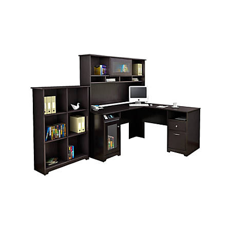 Bush Furniture Cabot L Shaped Desk With Hutch And 6 Cube Bookcase, Espresso Oak, Standard Delivery
