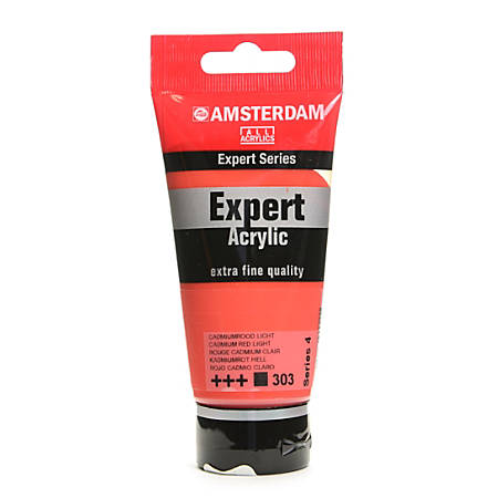 Amsterdam Expert Acrylic Paint Tubes, 75 mL, Cadmium Red Light, Pack Of 2