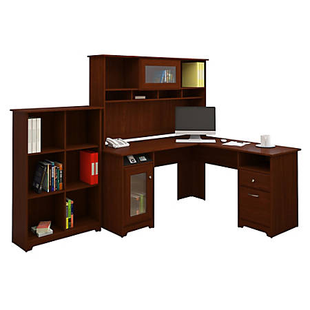 Bush Furniture Cabot L Shaped Desk With Hutch And 6 Cube Bookcase, Harvest Cherry, Standard Delivery
