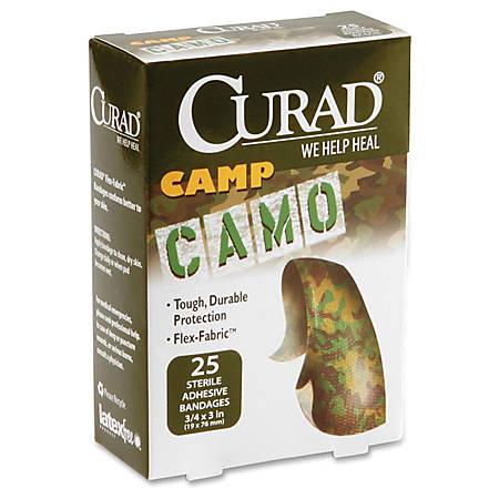 "Curad Camo Fabric Adhesive Bandages - 0.75"" x 3"" - 24/Case - Camo Green"