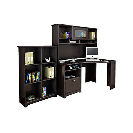Bush Furniture Cabot Corner Desk with Hutch and 6 Cube Bookcase, Espresso Oak, Standard Delivery