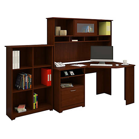 Bush Furniture Cabot Corner Desk with Hutch and 6 Cube Bookcase, Harvest Cherry, Standard Delivery