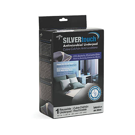 "Silvertouch Antimicrobial Underpads, 36"" x 32"", Gray, 2 Underpads Per Pack, Case Of 3 Packs"