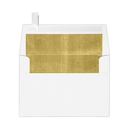 """LUX Foil-Lined Invitation Envelopes With Peel & Press Closure, A4, 4 1/4"""" x 6 1/4"""", White/Gold, Pack Of 50"""