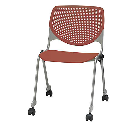 KFI Studios KOOL Stacking Chair With Casters, Coral/Silver