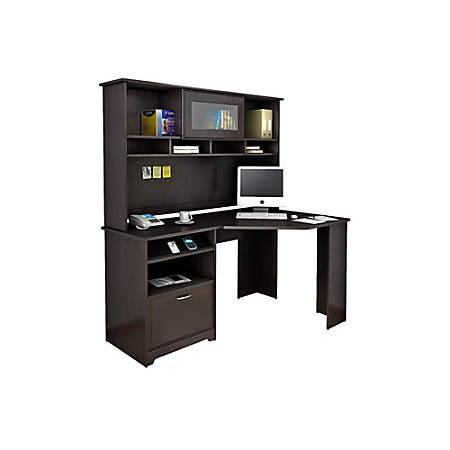Bush Furniture Cabot Corner Desk With Hutch, Espresso Oak, Standard Delivery