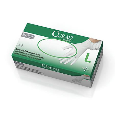 CURAD® 3G Vinyl Exam Gloves, Large, White, 100 Gloves Per Box, Case Of 10 Boxes
