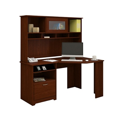 Bush Furniture Cabot Corner Desk With Hutch Harvest Cherry Standard Delivery By Office Depot Officemax