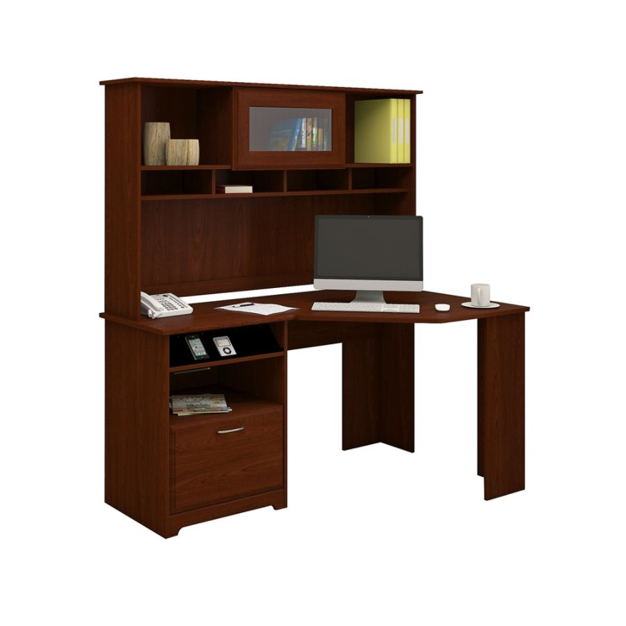Bush Furniture Cabot Corner Desk With Hutch Harvest Cherry Standard  Delivery By Office Depot U0026 OfficeMax