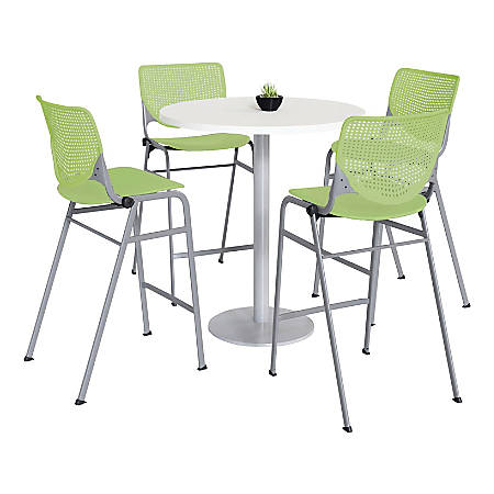 """KFI Studios KOOL Round Pedestal Table With 4 Stacking Chairs, 41""""H x 36""""D, Designer White/Lime Green"""
