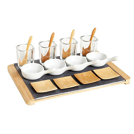 Ceramic Tapas Serving Set, Natural, 17 Piece Set