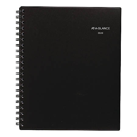 "AT-A-GLANCE® Notetaker Weekly/Monthly Planner, 8-1/4"" x 10-7/8"", Black, January To December 2020, 7073805"