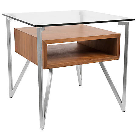 Lumisource Hover Contemporary End Table, Square, Brushed Stainless Steel/Walnut/Clear