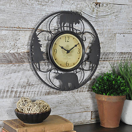 """FirsTime® Wildlife Wire Wall Clock, 11"""", Black/Brown"""