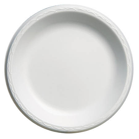 "Genpak® Elite Laminated Foam Plates, 10 1/4"", White, 125 Plates Per Pack, Carton Of 4 Packs"