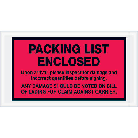 "Tape Logic® Preprinted Packing List Envelopes, Packing List Enclosed - Inspect For Damage, 5 1/2"" x 10"", Red, Case Of 1,000"