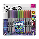 Sharpie® Cosmic Color Permanent Markers, Ultra Fine Point, Gray Barrels, Assorted Ink Colors, Pack Of 12 Markers