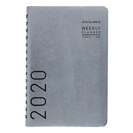 """AT-A-GLANCE® Contemporary Weekly/Monthly Planner, 5-1/2"""" x 8-1/2"""", Titanium, January to December 2020"""