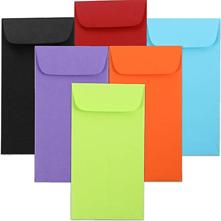 "JAM Paper® #6 Coin Envelopes, 3-3/8"" x 6"", Assorted Colors, Pack Of 150 Envelopes"